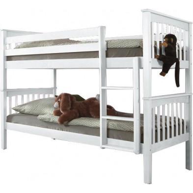 Lit superposé 90x200 cm blanc moderne en bois massif hêtre collection Schelvis