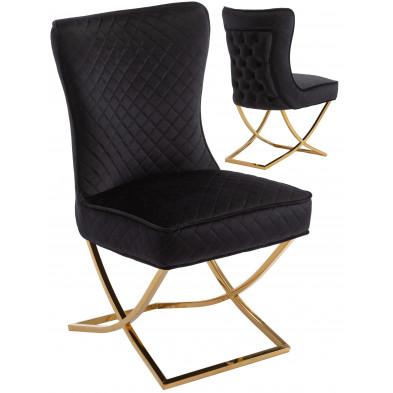 Chaise de salle à manger design avec capitonnage à l'arriere revetement en velour noir et piètement croisée en acier inoxydable doré collection LORENZO