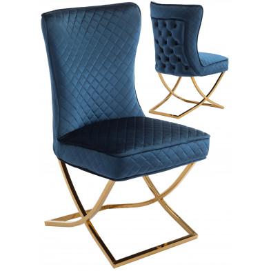 Chaise de salle à manger design avec capitonnage à l'arriere revetement en velour bleu et piètement croisée en acier inoxydable doré collection LORENZO