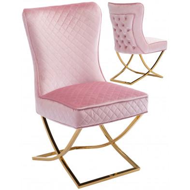 Chaise de salle à manger design avec capitonnage à l'arriere revetement en velour rose et piètement croisée en acier inoxydable doré collection LORENZO