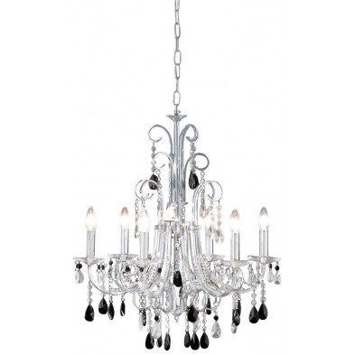 Lustre cristal à 6 lumières design noir et blanc romantique en verre et cristal d'une longueur de 62 cm Collection Blink