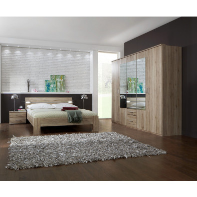 Ensemble armoire 225 cm + lit design Led 180x200 + 2 chevets coloris chêne San Remo collection Nefyn