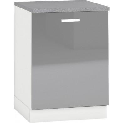 Meuble bas de cuisine design 1 porte coloris blanc mat et gris laqué  façade finition laqué haute brillance + Caisson en panneaux de particules 16mm recouverts de mélaminé  L. 60 x P. 60 x H. 82 cm collection Arronches