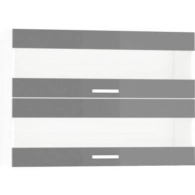 Meuble haut de cuisine design 2 portes vitrées horizontales coloris blanc mat et gris Finition façade : laqué haute brillance + Caisson en panneaux de particules 16mm recouverts de mélaminé  L. 100 x P. 30 x H. 72 cm collection Arronches