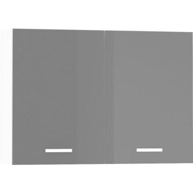 Meuble haut de cuisine design 2 portes coloris blanc mat et gris laqué Finition façade : laqué haute brillance + Caisson en panneaux de particules 16mm recouverts de mélaminé  L. 100 x P. 30 x H. 72 cm collection Arronches