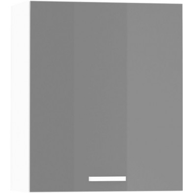 Meuble haut de cuisine design 1 porte coloris blanc mat et gris laqué L. 60 x P. 30 x H. 72 cm collection Arronches