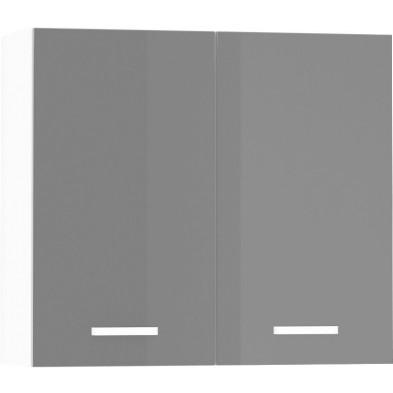 Meuble haut de cuisine design 2 portes coloris blanc mat et gris laqué L. 80 x P. 30 x H. 72 cm collection Arronches