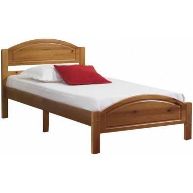 Lit 120x190 cm adulte contemporain marron en bois massif collection Inherit