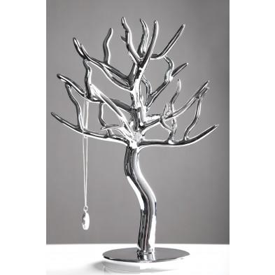 Porte-bijoux argenté design arbre  L. 23 x P. 16 x H. 30 cm collection Merkelbeek .