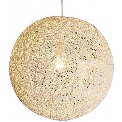 Suspension boule abaca 45 cm coloris blanc collection Lace