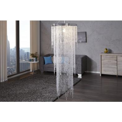Lustre suspension design 150 cm en acier chromé avec strasses coloris transparent collection Vanhoudt