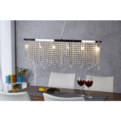 Lustre - Suspension à pampilles avec strasses 80 cm design en verre collection Pittem