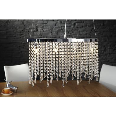 Lustre - Suspension à pampilles design en verre L. 20 x H. 30 cm collection Ervie