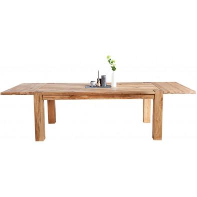Table à manger extensible L. 160-240 x P. 90 x H. 75 cm en bois coloris naturel collection Doral