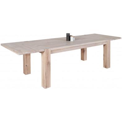 Table à manger extensible en bois massif coloris blanc huilé L. 160-240 x P. 90 x H. 75 cm collection Moselkern