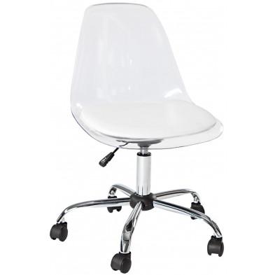 Chaise de bureau design réglable L. 55 x H. 80-90 cm en pvc et plastique coloris transparent collection Symir