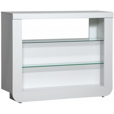 Table de bar blanc design en acier L. 125 x P. 38 x H. 100 cm collection Jessie