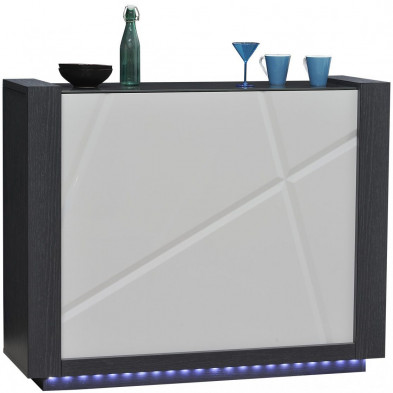 Meuble de bar ultra design bois et blanc L. 125 x P. 41 x H. 100 cm collection Loof