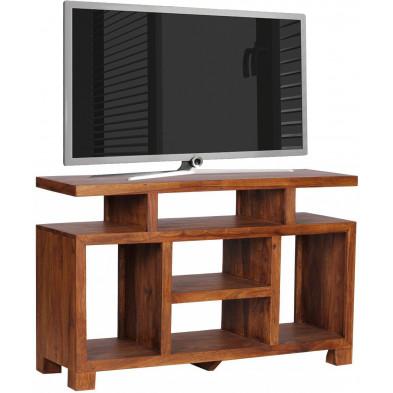 Meuble tv marron contemporain en bois massif L. 120 x P. 40 x H. 76 cm collection Fluttering