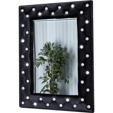Miroir design noir en velours L. 60 x P. 5 x H. 80 cm Collection Vezin