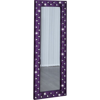 Miroir mural Capitonné strass design coloris mauve 170 cm collection Clunie