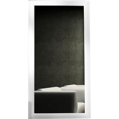 Miroir mural design bois coloris blanc L. 90 x H. 190 cm collection Framsden