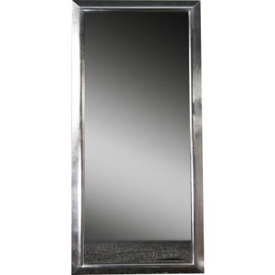 Miroir mural argenté design en bois massif L. 85 x H. 180 cm collection Penteado