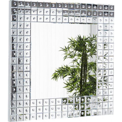 Miroir mural design carré avec verre transparent 109x109 cm collection Letters