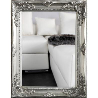 Miroir mural argenté romantique en bois massif L. 45 x P. 4 x H. 55 cm collection Glove