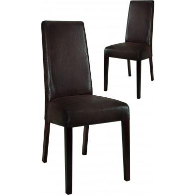 Lot de 2 Chaises de salle à manger moderne Marron Design en Bois massif L. 48 x P. 48 x H. 100 cm collection Ursem