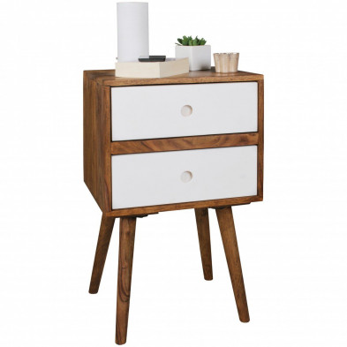 Chevet - table de nuit blanc scandinave en bois massif L. 40 x P. 35 x H. 67 cm collection Seck