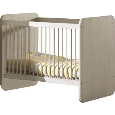 Lit bébé gris contemporain en panneaux de particules mélaminés de haute qualité L. 127 x P. 68 x H. 96 cm  collection Panicucci