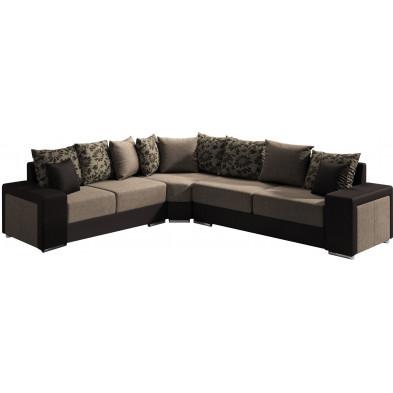 Canapé d'angle moderne 5 places en tissu et pvc avec méridienne angle droit coloris marron Collection NOUMA