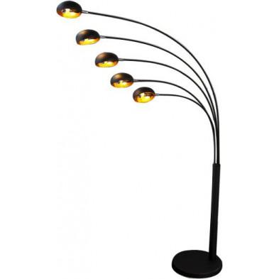Lampadaire design en métal coloris noir et or L. 150 x H. 205 cm collection Braspenning
