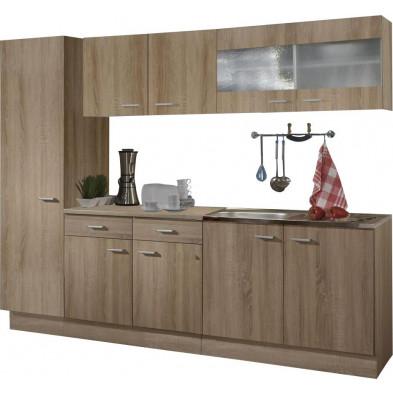 Pack complet de cuisine marron contemporain en panneaux de particules de haute qualité  L. 250 x P. 50 x H. 200 cm collection Schuster