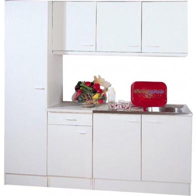 Pack complet blanc moderne en panneaux de particules de haute qualité L. 200 x P. 50 x H. 200 cm  collection Spijkstra