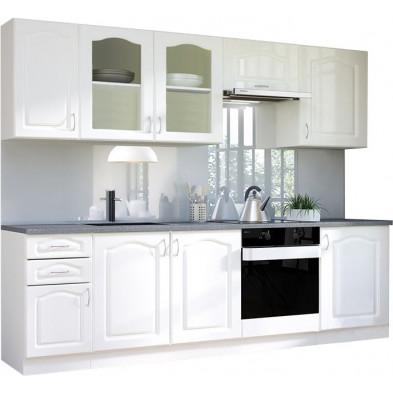 Ensemble cuisine complète contemporaine coloris blanc L. 260 x P. 60 cm collection Dingman