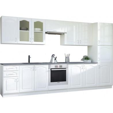 Ensemble meuble cuisine complète contemporaine  coloris blanc L. 360 x P. 60 cm collection Dingman