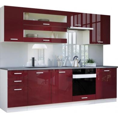Ensemble cuisine complète ultra moderne coloris blanc mat et rouge laqué L. 260 x P. 60 cm collection Carlsbad