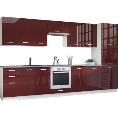 Ensemble cuisine complète ultra moderne coloris blanc mat et rouge laqué L. 360 x P. 60 cm collection Carlsbad