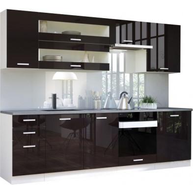 Ensemble cuisine complète ultra moderne coloris blanc mat et noir laqué L. 260 x P. 60 cm collection Bayton