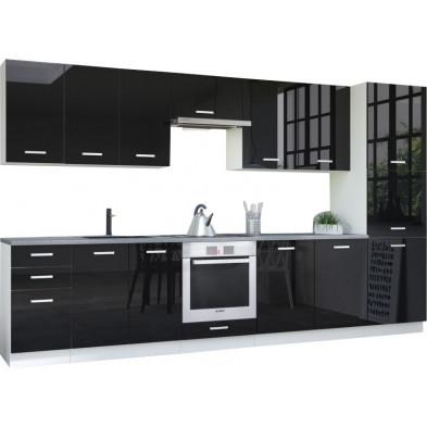 Ensemble cuisine complète ultra moderne coloris blanc mat et noir laqué L. 360 x P. 60 cm collection Bayton