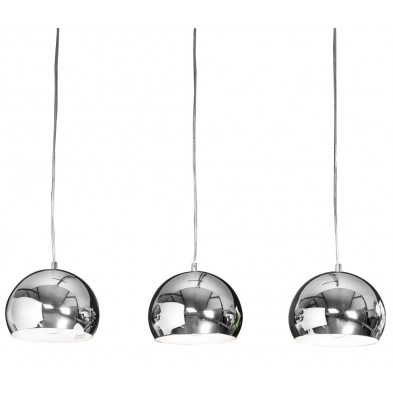 Suspension design argenté en acier chromé L. 150 cm collection Semprun