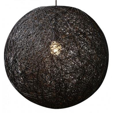 Suspension boule abaca 60 cm coloris noir collection Willowlake
