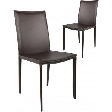 Lot de 2 chaises design en air cuir coloris brun L. 45 x H. 55 cm collection Deviber