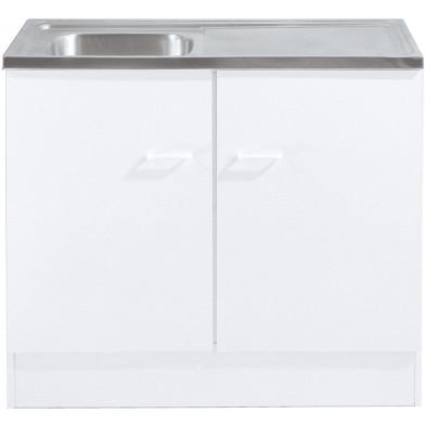 Meubles bas avec evier blanc moderne en panneaux de particules de haute qualité  L. 100 x P. 50 x H. 85 cm collection Spijkstra