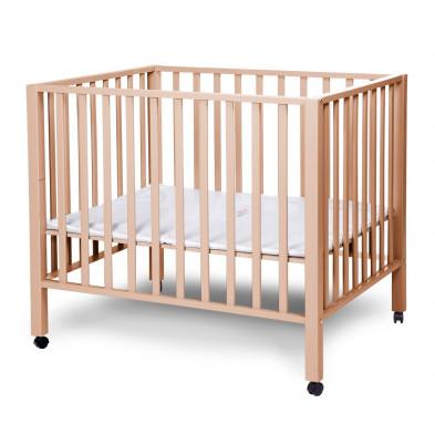Parc bébé design beige en bois massif hêtre et bois MDF 75x95cm Collection Saltwood