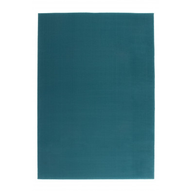 Tapis unicolore bleu moderne tissé à la machine en polypropylène  L. 150 x P. 80 x H. 1 cm collection Sulky