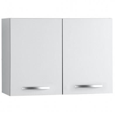 Meubles haut moderne blanc en panneaux de particules mélaminés de haute qualité L. 80 x P. 35 x H. 57 cm Collection Janco