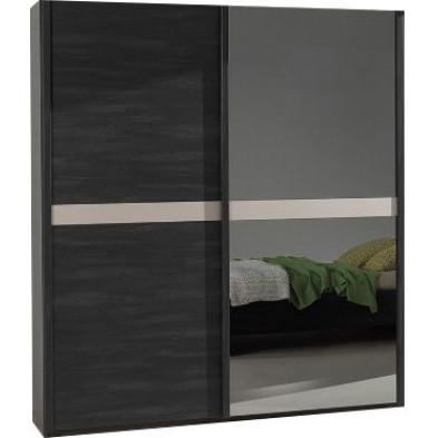 Chambre adulte marron contemporain en panneaux de particules mélaminés de haute qualité L. 193 x P. 65,1 x H. 220 cm collection Jascha